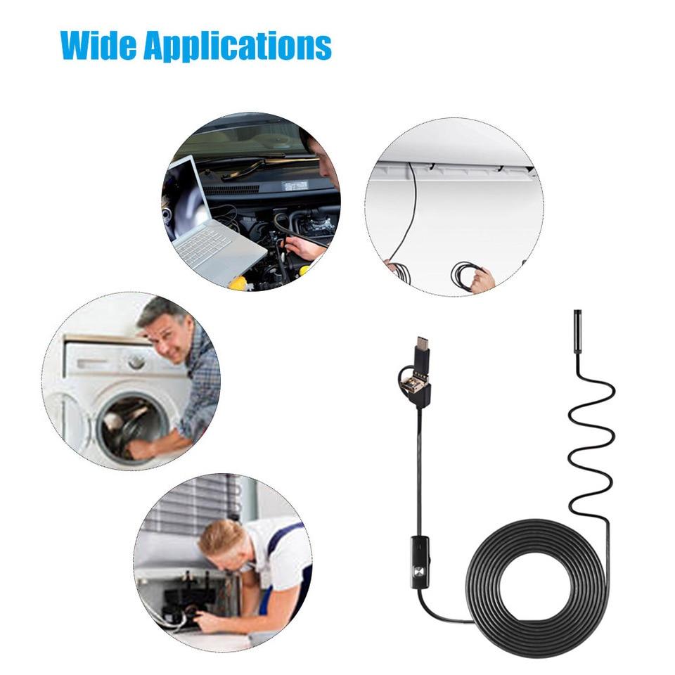 5-10M Wasserdicht USB Endoskop Rohr Handy kamera Inspektionskamera 6 LED wC