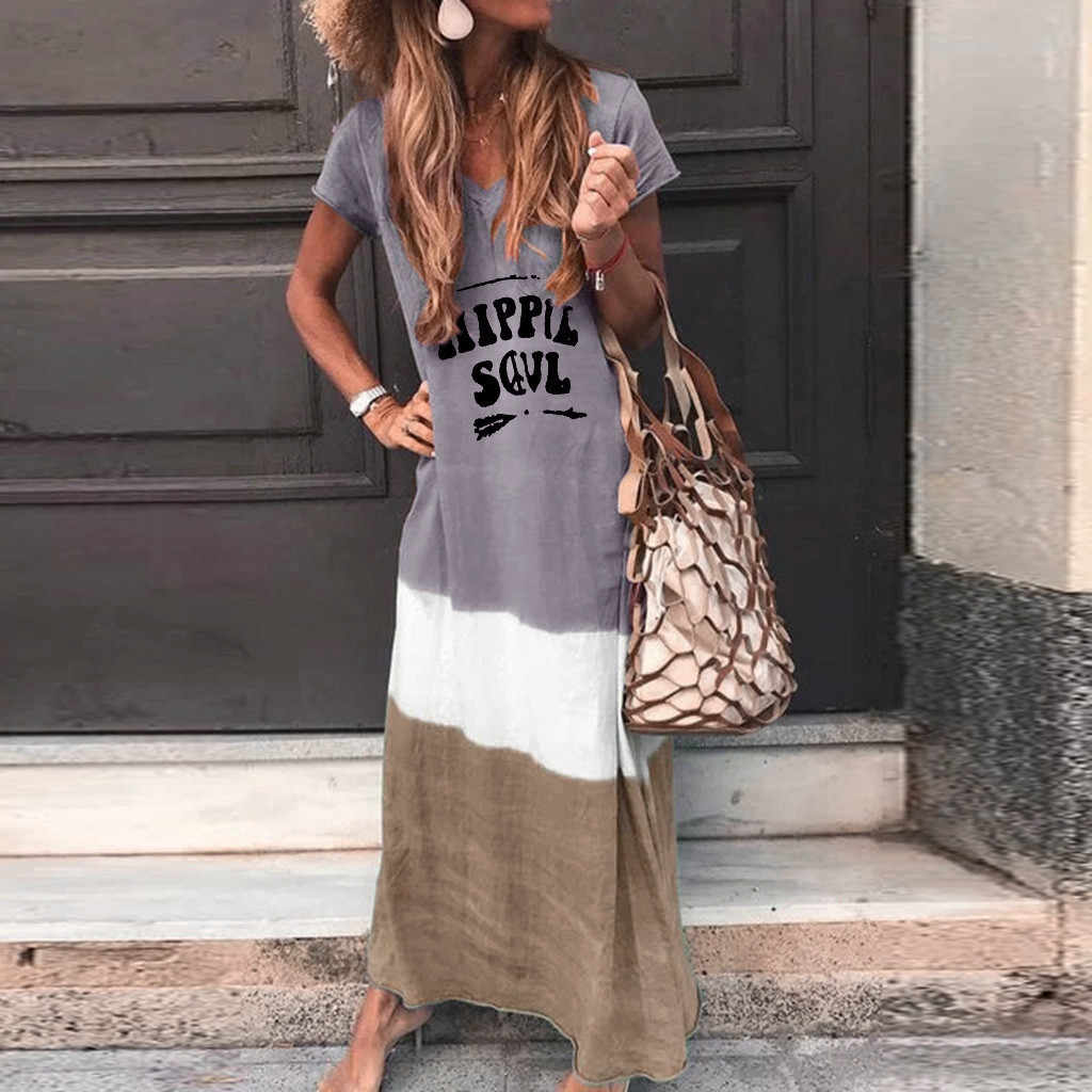 Chamsgend夏ドレス女性プラスサイズルース絞り染めカラーブロックパッチワークドレスヒッピー魂半袖マキシドレスvestidoF26