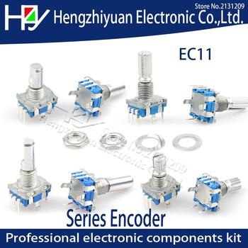 EC11 Half Shaft Plum Axis Rotary Encoder Switch Handle Length 15mm 20mm Full Axis Code Switch Digital Potentiometer With Switchs 128 pairs associated with switch potentiometer b500k 15mm