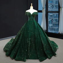2020 new performance one-character shoulder Green dreamy trailing strapless mermaid ruffle boho wedding dress beach ball gown(China)