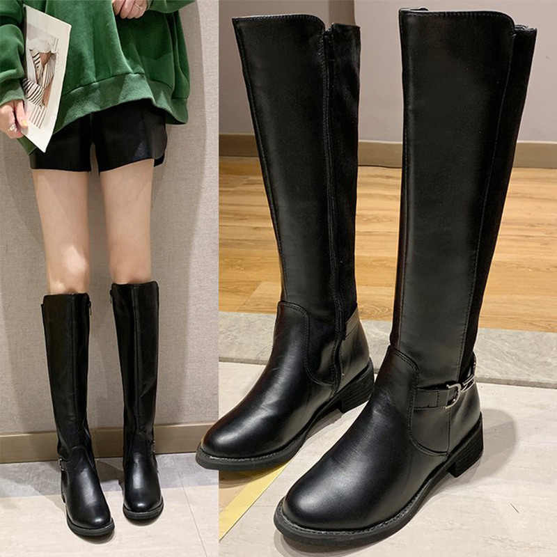 2019 Autumn Women Knee High Boots Female Side Zipper Buckle Strap Mid Heels Plus Size Shoes Black PU Motorcycle Boot Ladies