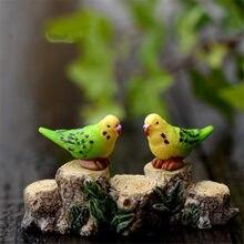 1 par adorável papagaio micro estatuetas de fadas miniaturas decoração do jardim acessórios estacas decorativas