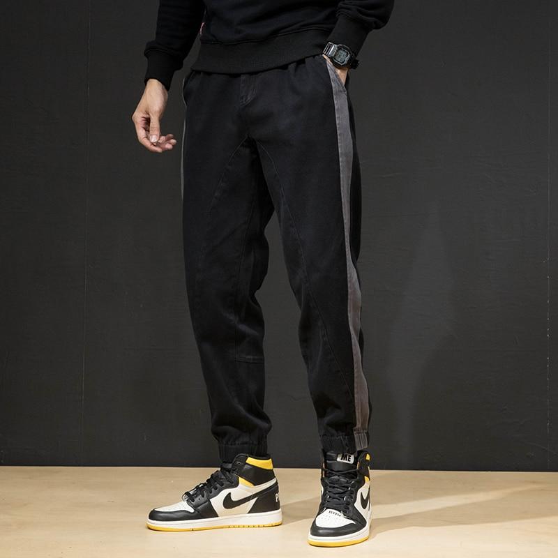 Fashion Streetwear Men Jeans Loose Fit Stripe Designer Casual Denim Cargo Pants Harem Trousers Black Hip Hop Joggers Pants Homme