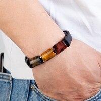 Hoge Kwaliteit Natuurlijke Tijgeroog Steen Chakra Sieraden Charm Rvs Mannen Echt Lederen Armband Natuursteen Armband
