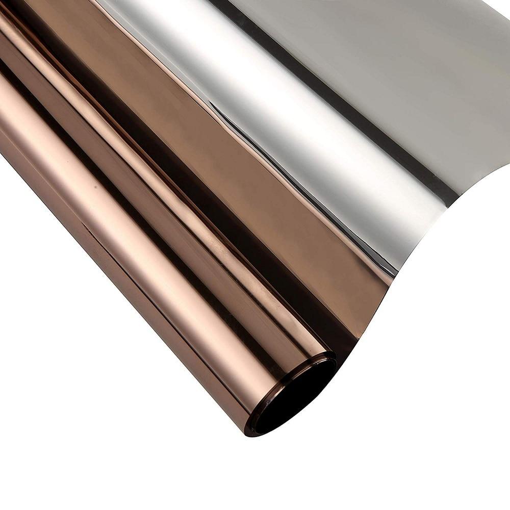 Tea And Silver Heat Insulation Window Film Self-Adhesive Drop-Shipping Anti-UV Privacy Protection Mirror Decorative Sticker