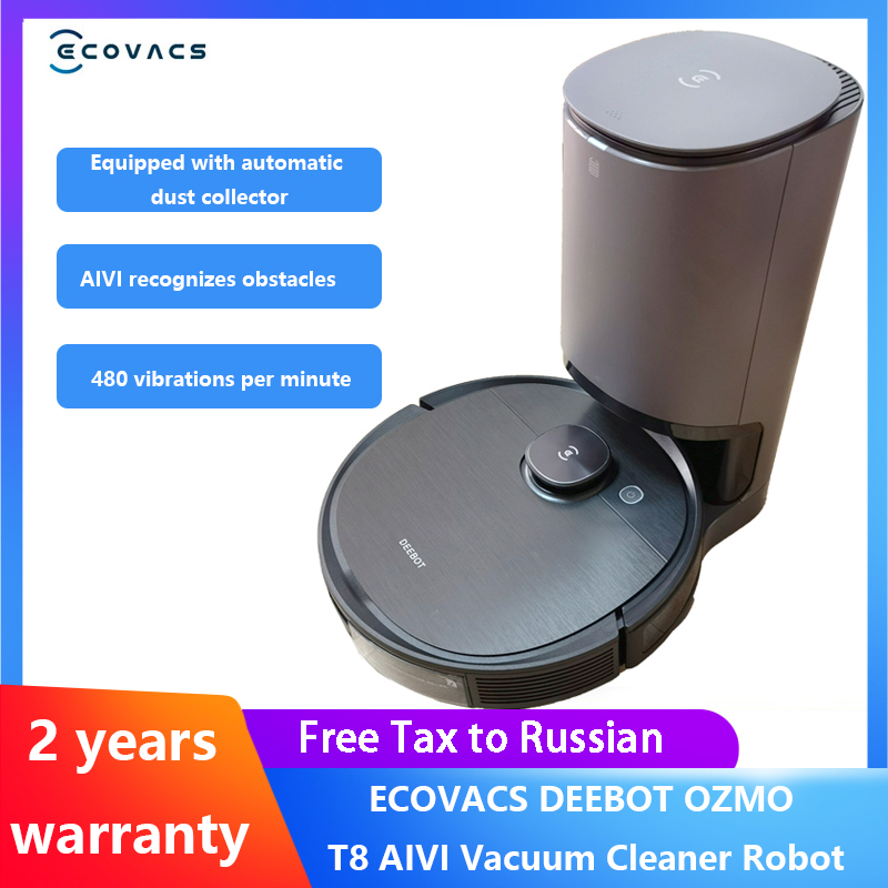 Original ECOVACS DEEBOT T8 AIVI /T8 AIVI Plus Robot Vacuum Cleaner Fully Automatic Sweeping Vibration Mopping Zero Collision Vacuum Cleaners  - AliExpress