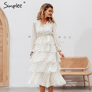 Image 2 - Simplee Elegant polka dots ชุดสตรีแขนยาวยาวเค้กหญิง Vintage สุภาพสตรีชุดราตรี vestidos