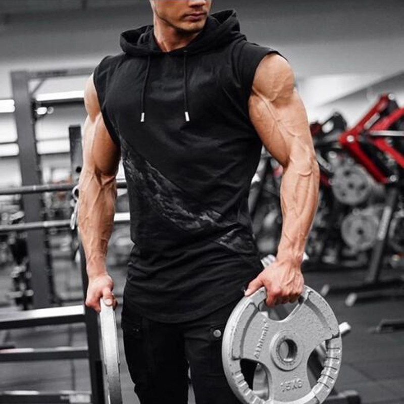 Men High Elasticity Fitness Vest Bodybuilding Stringer Tank Top Muscle Guys Sleeveless Hoodies Vest Undershirt Stringer Clothing