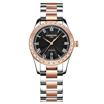 Carnival automatic watch women mechanical luxury brand original movement waterproof date watches gift for friend - Rose
