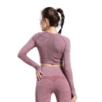 Nepoagym damskie koszule z długim rękawem damskie top do jogi koszulka sportowa odzież sportowa dla kobiet siłownia damskie koszulki treningowe tanie i dobre opinie WOMEN NYLON spandex Pełna Oddychająca Szybkie suche Pasuje prawda na wymiar weź swój normalny rozmiar Dzianiny Joga