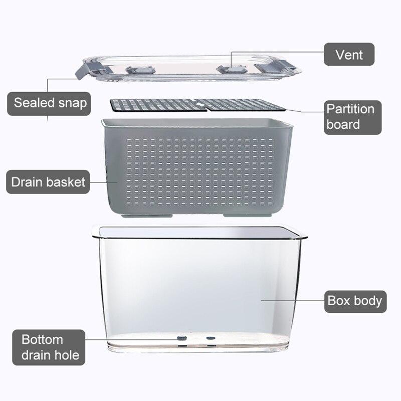 Kitchen Plastic Storage Box Fresh-Keeping Box Refrigerator Fruit Vegetable Drain Crisper Kitchen Storage Containers With Lid 2