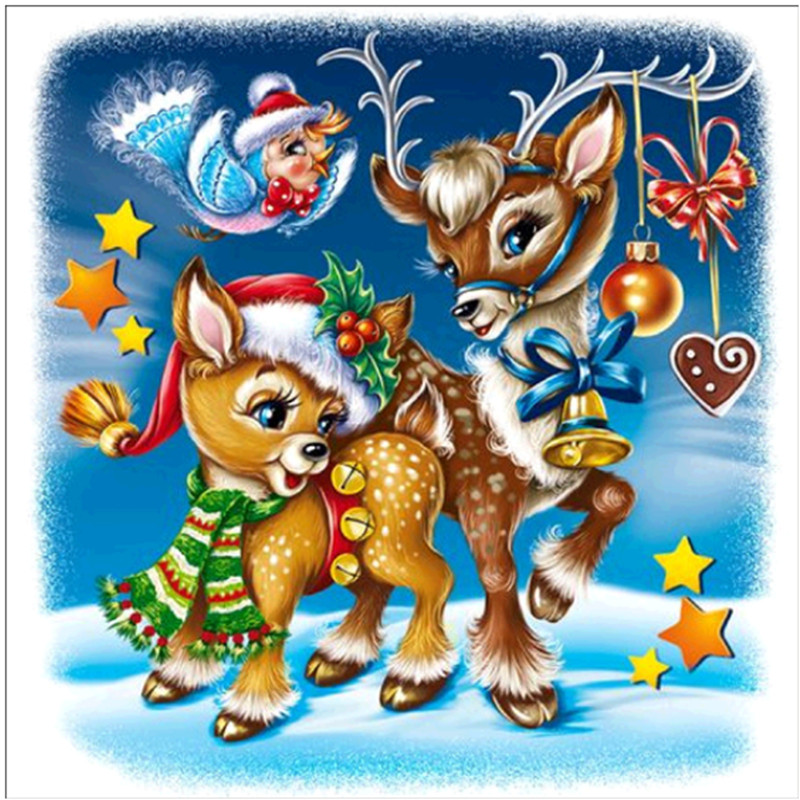 Diamond Embroidered Christmas Elk 5D DIY Cartoon Painting Full Round Gift