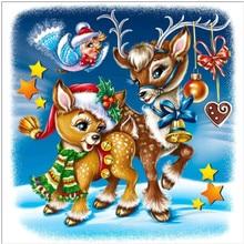 Diamond Embroidered Christmas Elk 5D DIY Cartoon Painting Full Round Gift