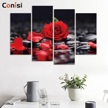 Conisi 4 Pieces/set Canvas Print Flower White Black Wall Art Picture with Modern Wall Paintings Decoration Modular Picture