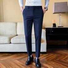 2021 New Business Dress Pants Men Solid Color Office Social Formal Suit Pants Casual Streetwear Wedding Trousers Pantalon Homme