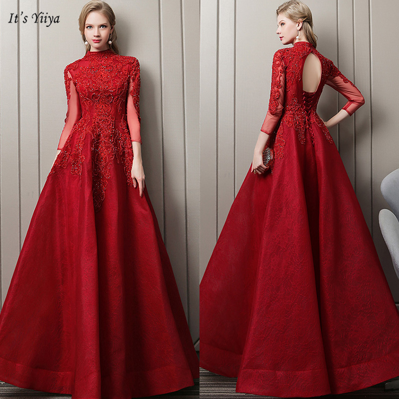 It's Yiiya   Evening     Dress   High Neck Plus Size Cut-out Robe De Soiree Appliques Three Quarter Ball Gown Women Party   Dresses   V134