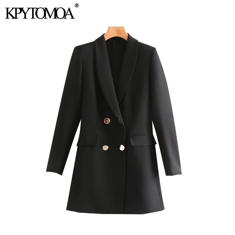 Vintage Stylish Office Wear Double Breasted Blazer Coat Women 2020 Fashion Long Sleeve Pockets Female Outerwear Chic Tops