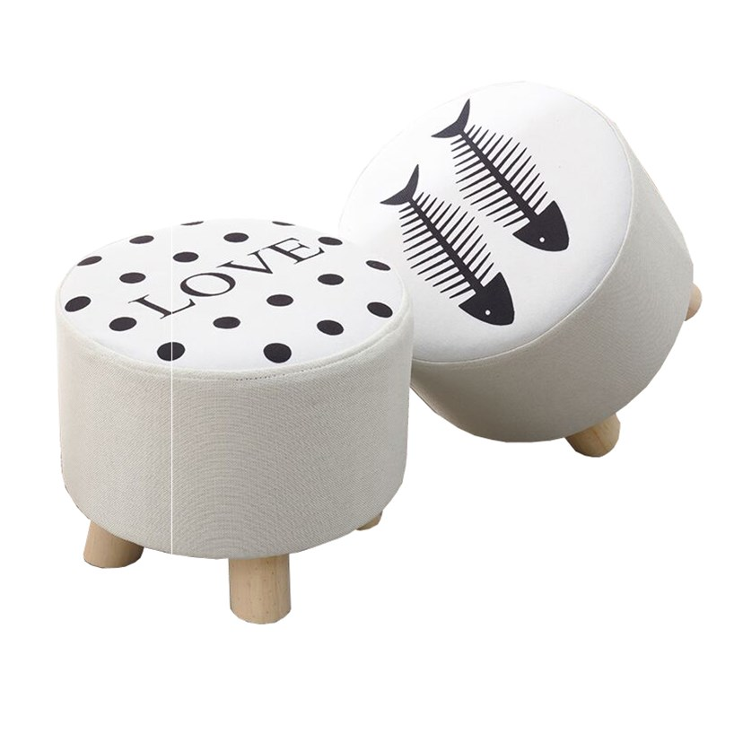 Cloth Stool Fashion Home Adult Living Room Stool Sofa Stool Solid Wood Stool Small Bench Bench Small Block