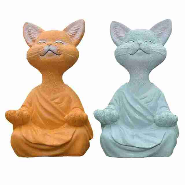 New Black Buddha Cat Figurine Meditation Yoga Collectible Happy Cat Decor Art Sculptures Garden Statues Home Decor 2