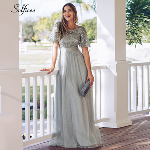 Image 4 - New Decoration Dress Women Elegant A Line O Neck Flare Sleeve Sequined Long Formal Party Dresses For Women Plus Size X 9XL 2020