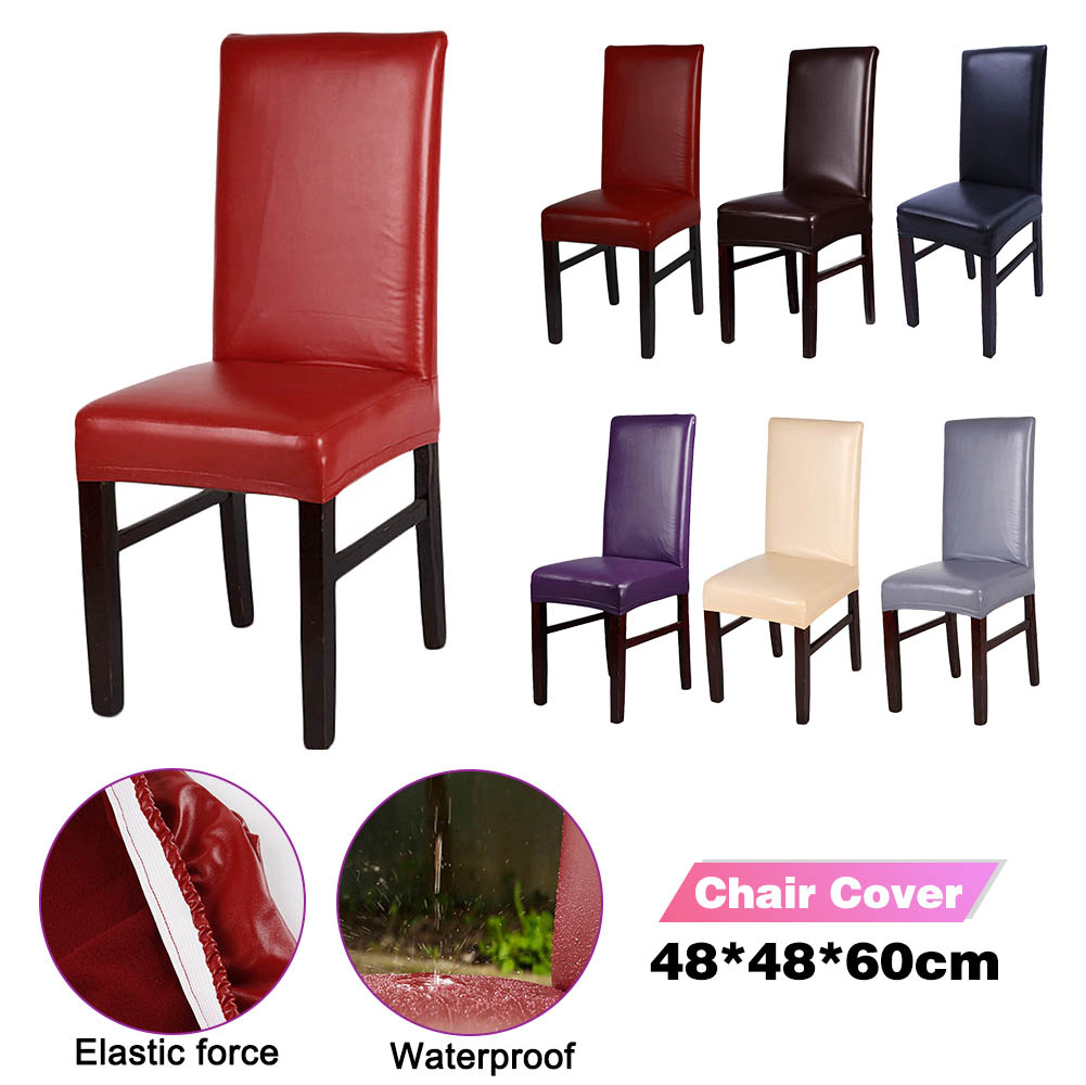 Pure Color Chair Cover PU Leather Fabric Material Waterproof Dining Seat Chair Covers Hotel Banquet Seat Covers Chair Protector