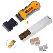 "EHDIS 100Pcs 1.5 ""เหล็กคาร์บอนมีดโกนใบมีด + 2PcsมีดโกนScraperไวนิลรถWrapเครื่องมือWidow Tintสติกเกอร์Removerเครื่องมือทำความสะอาด"