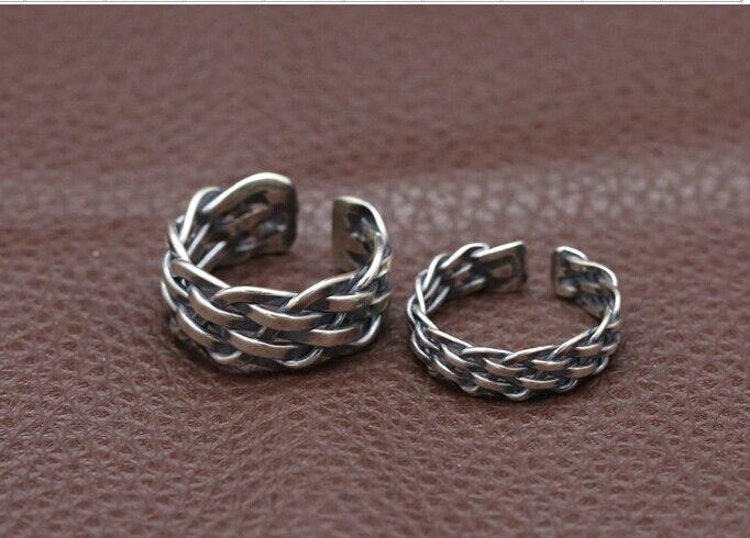 S925 Стерлинговое Серебро тайское серебряное ювелирное изделие ручной работы кольцо для мужчин и женщин модное простое кольцо подарок на ден... - 2