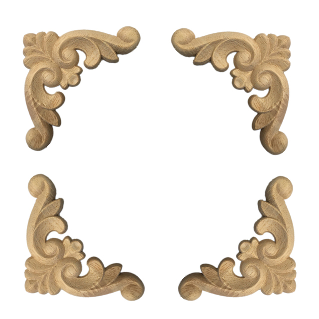 4 Pcs Wood Carved Corner Onlay Applique Frame for Home Furniture Wall Cabinet Door Decor CraftsMINI Letras Decorativas 4