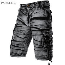 Pantalones cortos de algodón para Hombre, Bermudas cómodas, corte holgado, pantalón con bolsillos, color gris