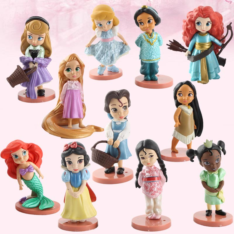 Merida 11pcs Moana da disney Branca de Neve Princesa Figuras de Ação dolls Ariel Tiana Boneca Jasmine Merida Anime Figuras presente Toy Kid