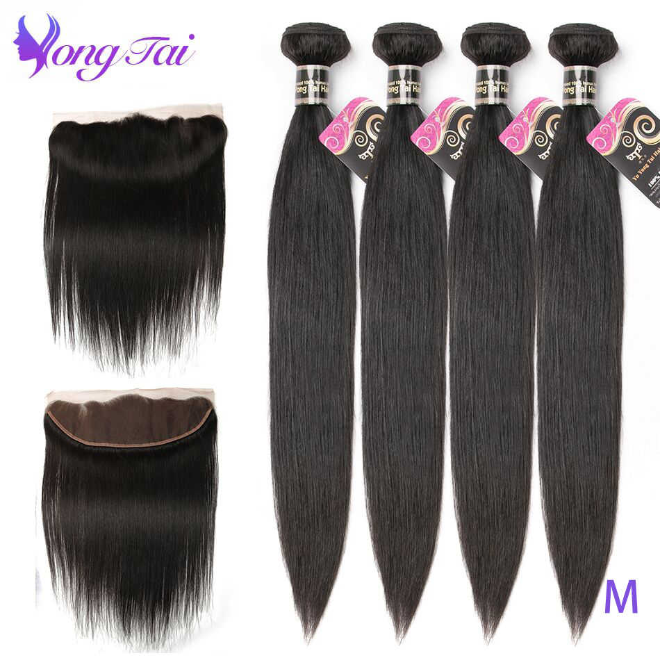 Yuyongtai Hair Brazilian Straight 4Bundles With 13x4 Lace Front Pre Plucked Non-Remy Human Hair Medium Ratio Weave Natural Color