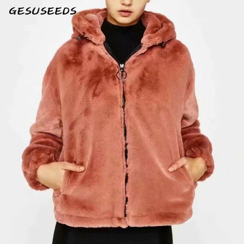 Teddy jacket faux fur coat female orange fur coat female winter coat women elegant shaggy fur coats fluffy jacket vintage 2019