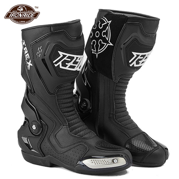 Black Motorcycle Boots Leather Botas Moto Non-slip Racing Riding Boots Men Motocross Boots Wearable Motorcycle Shoes arcx motorcycle boots men waterproof botas moto genuine cow leather moto boots motocross boots motorcycle racing mid calf shoes