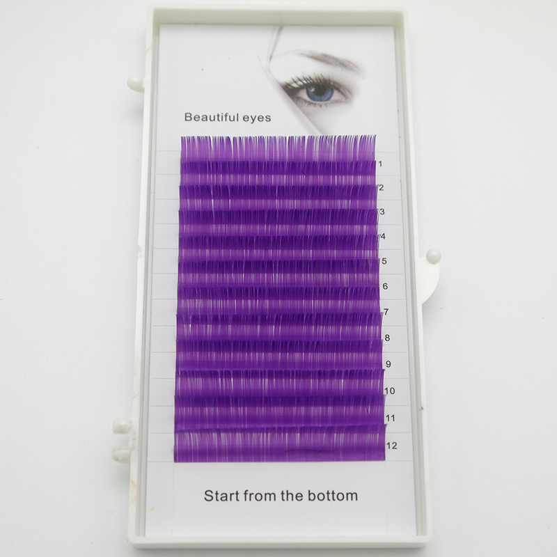 2020 New C / D Curls 0.07 0.1mm 8 / 15mm False Eyelashes Purple Eyelashes Individual Color Eyelashes False Curl Eyelash Extensio