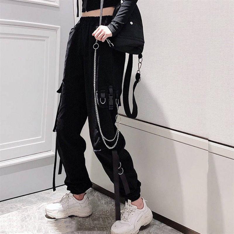 Women's Cargo Pants Buckle Ribbon Pocket Jogger Elastic Waist High Streetwear Harajuku Pant Punk Ring Chain Females Trousers