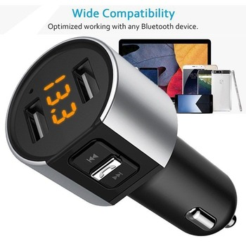Wireless In-Car Bluetooth FM Transmitter MP3 Radio Adapter Car Kit USB Car Charger image