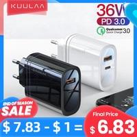 Kuulaa usb充電器36ワット急速充電4.0 pd 3.0 usbタイプc急速充電器iphone xiaomiポータブル携帯電話充電器アダプタ
