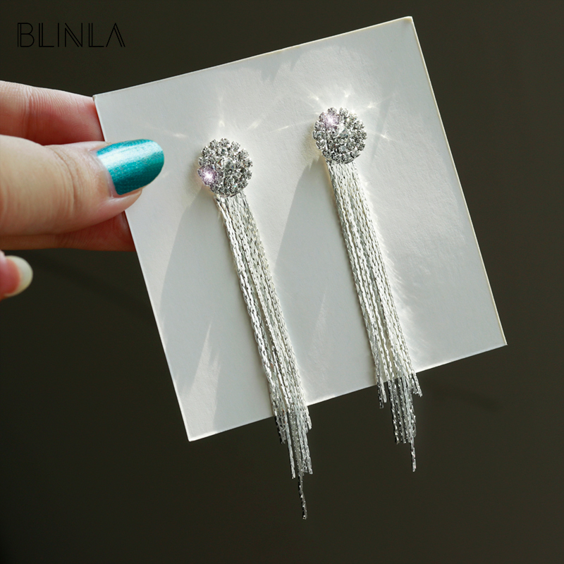 BLINLA 2019 Fashion Korean Long Tassel Crystal Dangle Earrings for Women Luxury Wedding Geometric Charm Hanging Earrings Jewelry