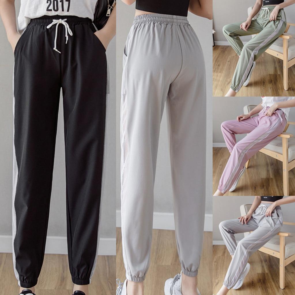 Женские повседневные спортивные брюки, тонкие дышащие дизайнерские штаны с боковой сеткой на лямках, высококачественный хип-хоп брюки для ...