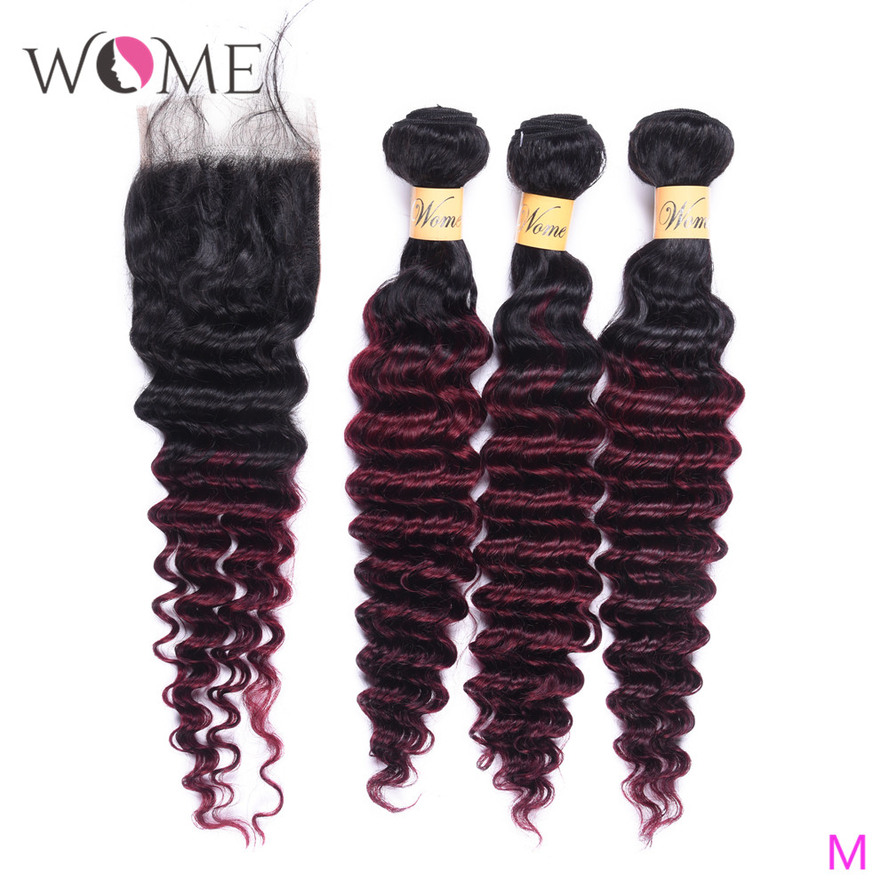 Wome T1B/99J Malaysian Deep Wave Bundles With Closure Red Wine Color Human Hair Curly 4 Bundles With Lace Closure Free Part
