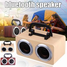 5V 6W Draagbare Houten Bluetooth Speaker W5B Hifi Draadloze 2CH Retro Dual Luidsprekers 3D Stereo Surround Bass Soundbar(China)