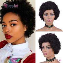USEXY krótki Afro perwersyjne kręcone ludzkie włosy peruki dla czarnych kobiet brazylijski Remy peruki ludzkie włosy 150 gęstości ludzkie krótkie włosy peruki tanie tanio USEXY HAIR Włosy remy Brazylijskie włosy średni rozmiar Afro Curly Human Hair Wigs Brazilian remy hair Wigs For Black Women