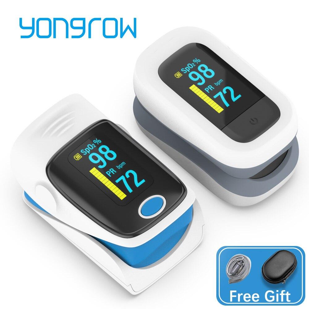Цифровой Пальчиковый Пульсоксиметр Yongrow, прибор для измерения пульса и уровня кислорода в крови, медицинский бытовой тонометр для ухода за ...