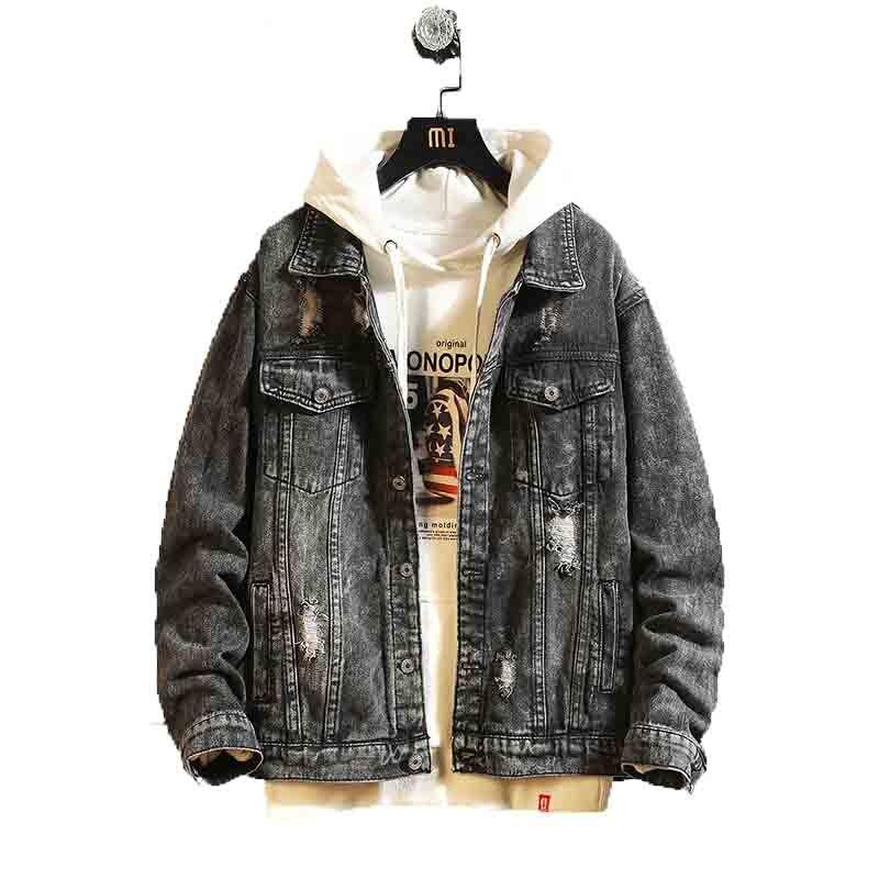 Mens Jean Jacket 2020 Denim Coats Men Hole Retro Motorcyle Coat Streetwear Hip Hop Bomber Jacket Cowboy Chaqueta Hombre M-3XL