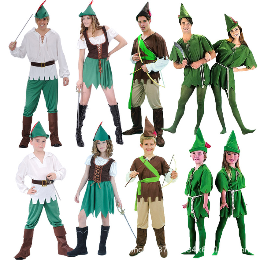 Cosplay Peter Pan <font><b>Costume</b></font> for Adult Kids Women <font><b>Sexy</b></font> The Wizard Elf Hunter Dress Kids Cartoon Movie Role-play Clothing <font><b>Halloween</b></font> image