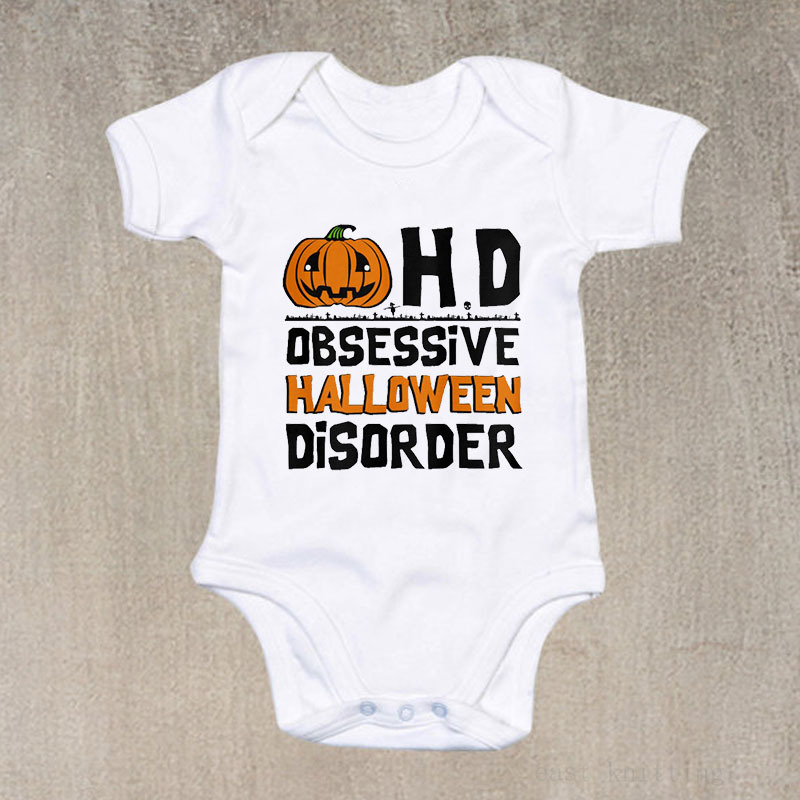 Infant jumpsuits HD letters printed cartoon pumpkin in European and American fashion round collar short sleeve climb clothes in Bodysuits from Mother Kids