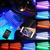 LED Car Interior Atmosphere Foot Light Ambient Lamp With USB Wireless Remote Music Control Multiple Modes Automotive Decorative