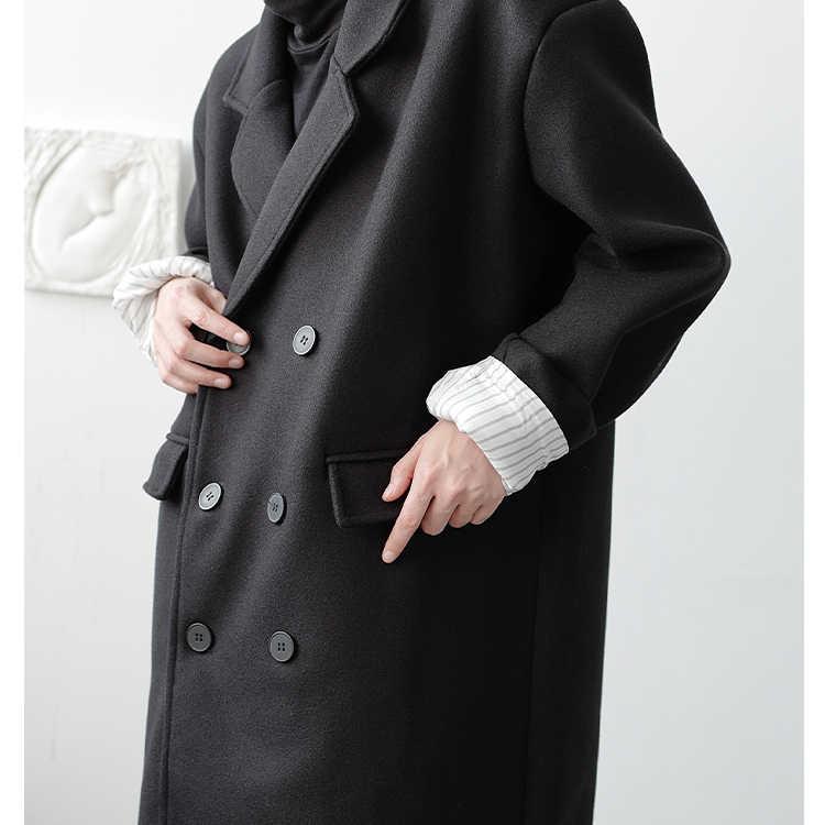 Мужская Уличная винтажная куртка-Тренч, мужское зимнее двубортное Свободное длинное повседневное шерстяное пальто, верхняя одежда