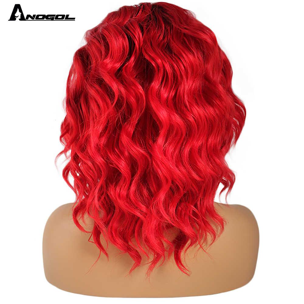 Anogol Hoge Temperatuur Fiber Peruca 360 Frontale Zwart Ombre Rode Bob Volledige Haar Pruiken Korte Water Wave Synthetische Lace Front pruik
