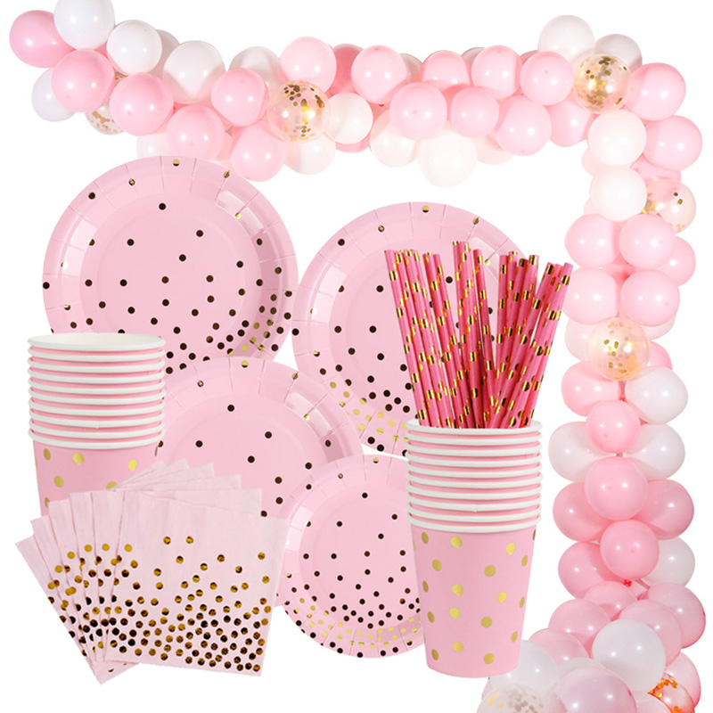 Pink Unicorn Girl Birthday Party Supplies For Kids Adult Balloon Set Disposable Cup Plate Napkin Straw Pull Flag Party Decor